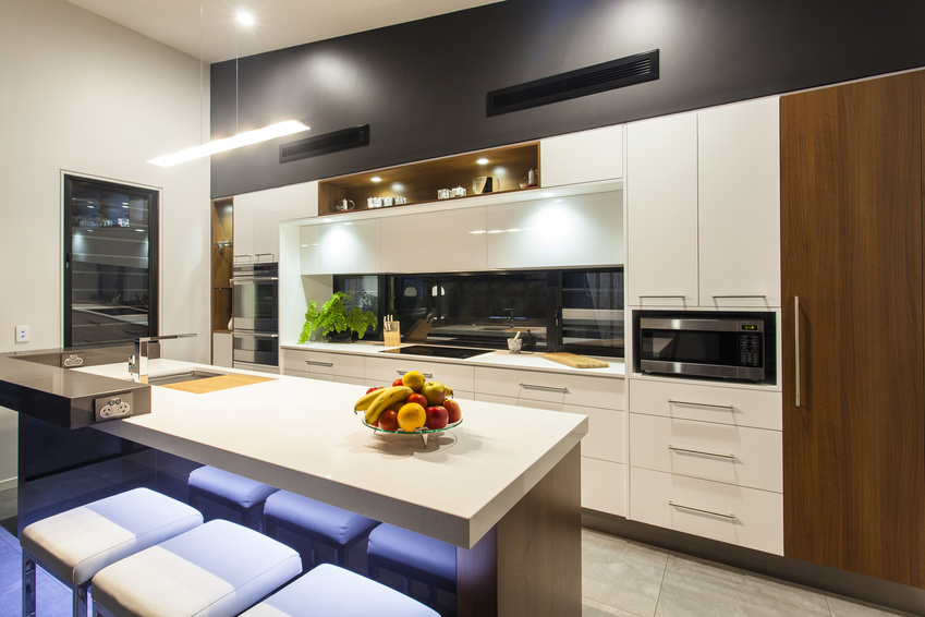 New LED lit modern kitchen in stylish home