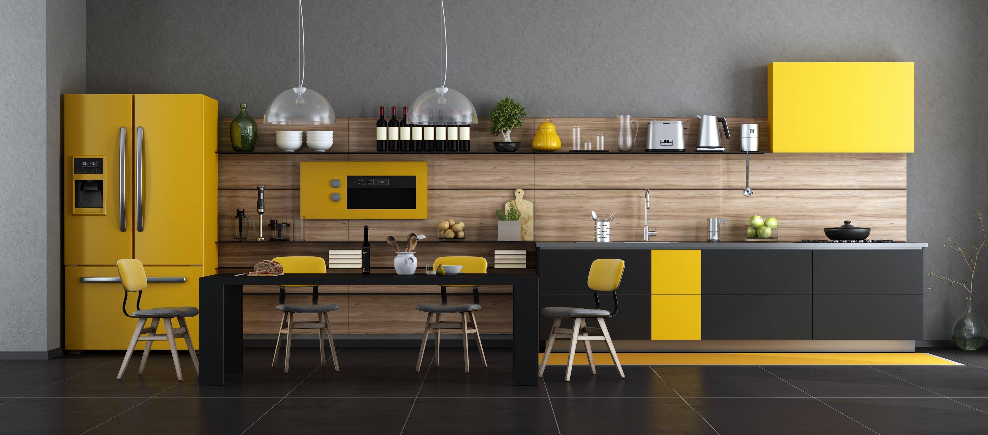 Żółto czarna kuchnia, idealne rozwiązanie do nowoczesnych stylizacji kuchennych